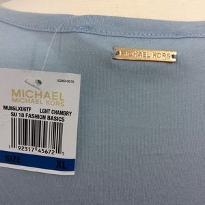 MICHAEL Michael Kors Tops - NWT Michael Kors XL Sky Blue Blouse Ruffle Hem